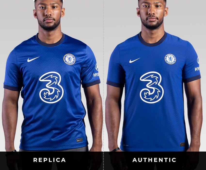 Models wears a replica and authentic chelsea jersey